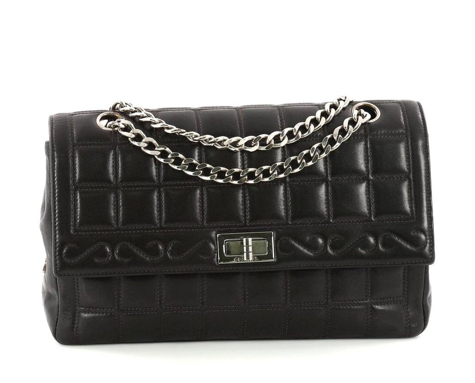 73ee9bd55f2a Chanel Mademoiselle Chocolate Bar Chain Medium Black Lambskin ...