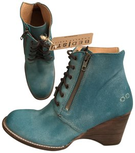 Bed|Stü Nubuck Suede Leather Distressed Ankle Blue Boots