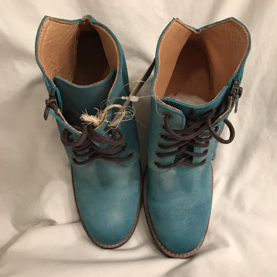 Bed|Stü Nubuck Suede Leather Distressed Ankle Blue Boots Image 1