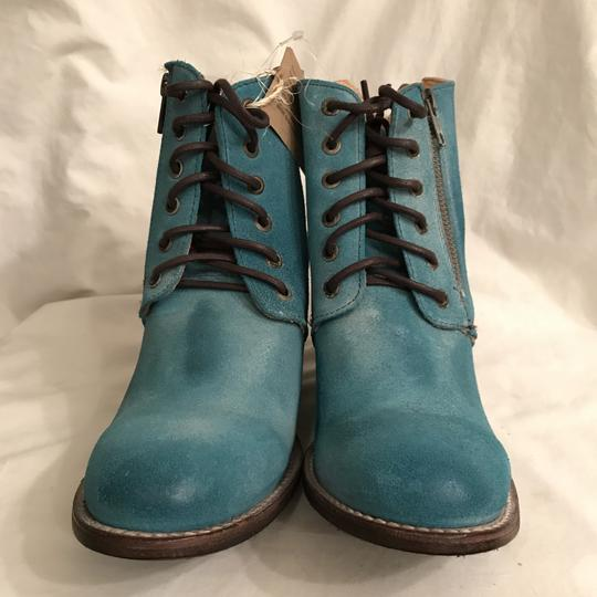 Bed|Stü Nubuck Suede Leather Distressed Ankle Blue Boots Image 2