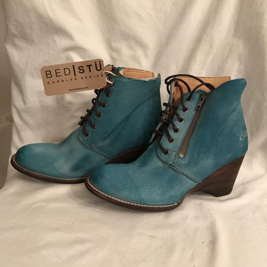 Bed|Stü Nubuck Suede Leather Distressed Ankle Blue Boots Image 3