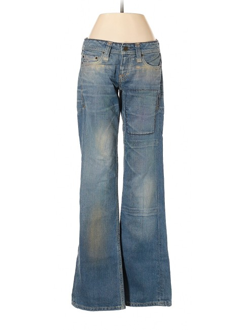 Taverniti So Jeans Flare Distressed Vintage Low Rise Boot Cut Jeans-Distressed Image 0