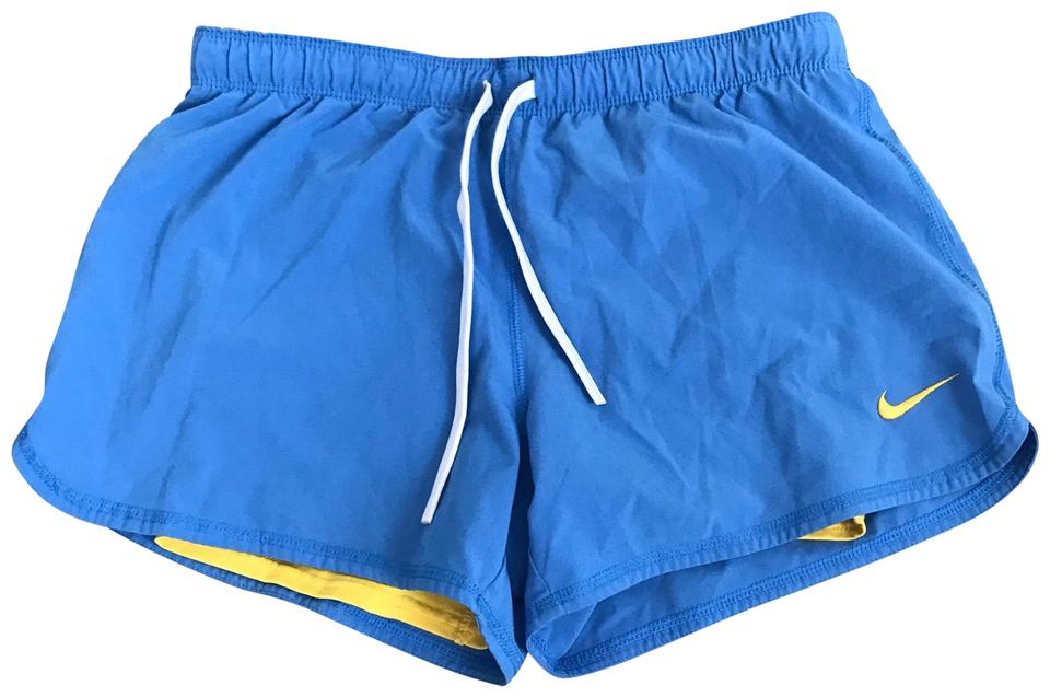 3852b74f3b Nike Blue and Yellow Dri Fit Fold Over Shorts Size 8 (M, 29, 30 ...