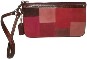 Coach Patchwork Suede Wristlet in Red, Pink & Brown