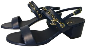 Chanel Classic Charm Woven Gold Navy Blue Sandals