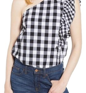 J.Crew Black and White Gingham Halter Top
