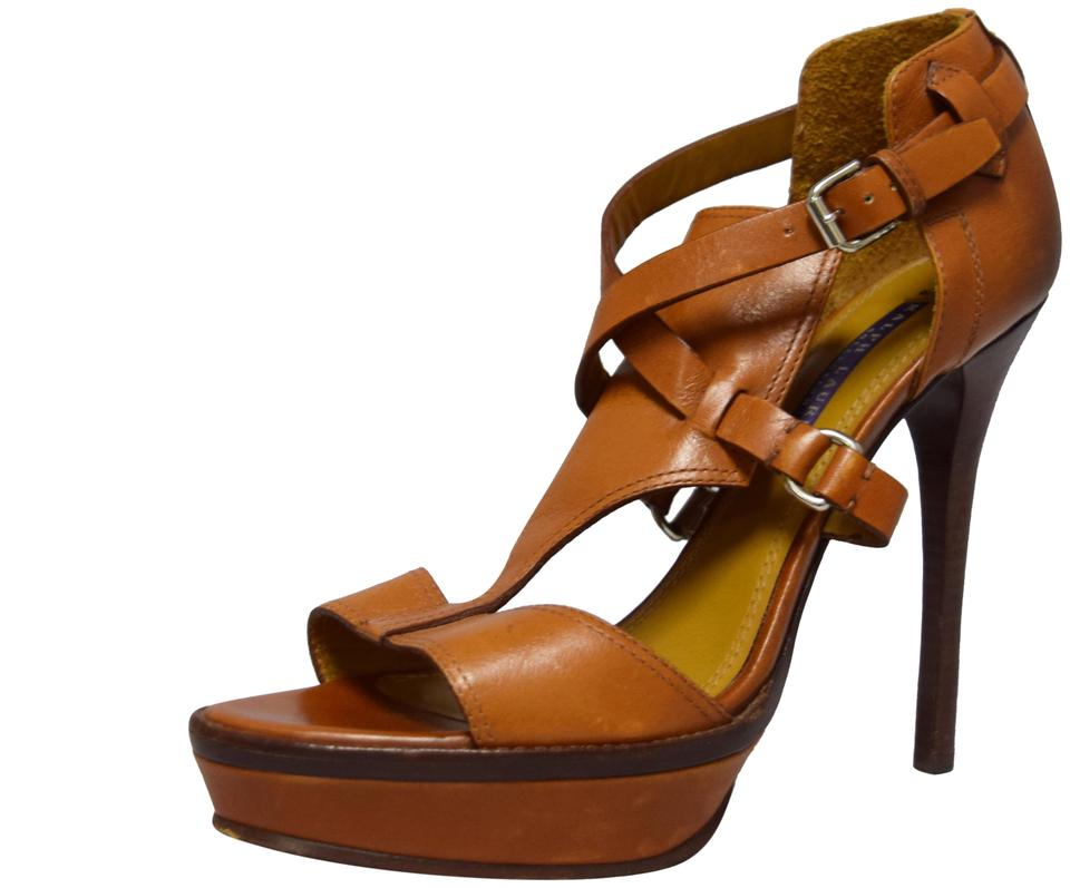 060e9a9bc4bbde Ralph Lauren Cognac Leather Heels Sandals Size US 8 Regular (M
