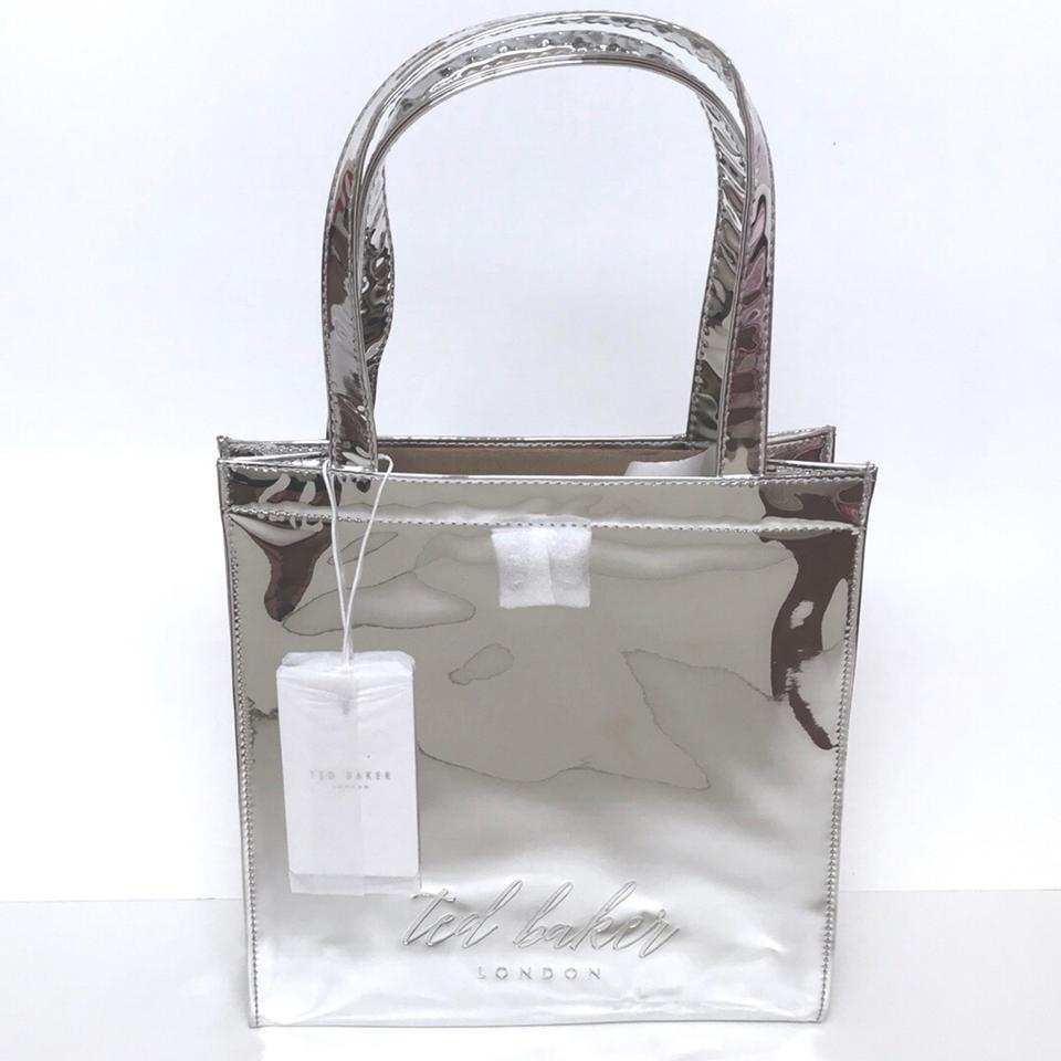2f77722cc1 Ted Baker London Tote in Silver Mirrored Image 4. 12345