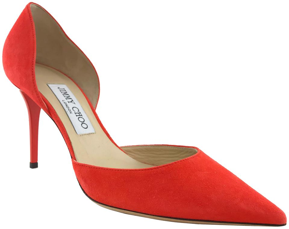 6dc4d9dd048 Jimmy Choo Red Manolo Blahnik Tayler Suede D'orsay Pumps Size EU 37.5  (Approx. US 7.5) Regular (M, B) 44% off retail