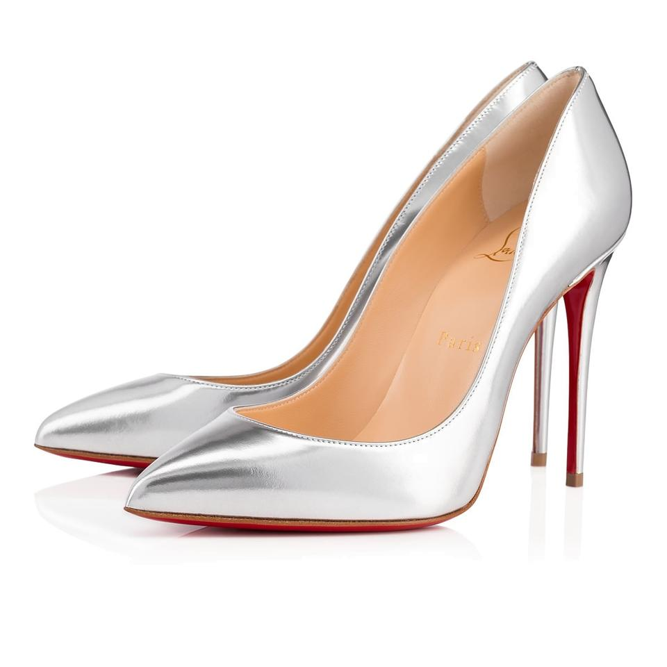 Christian Louboutin Pigalle Stiletto Follies Classic Patent silver Pumps  Image 0 ...