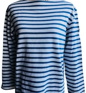 Saint James T Shirt white and deep sky blue stripe