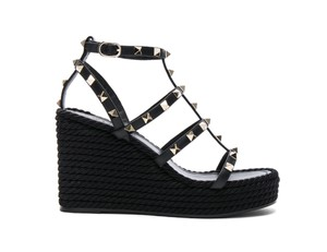 Valentino Rockstud Studded Stiletto Ankle Strap black Wedges