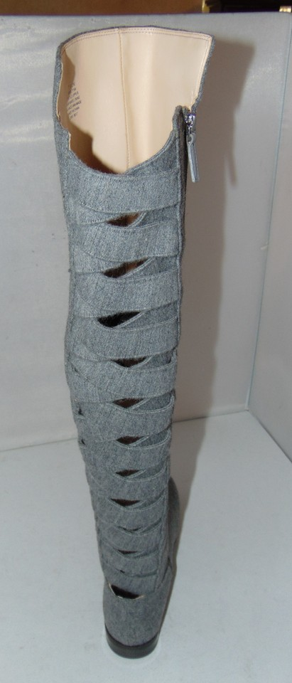 6f07d915c53 Nine West Grey Felt Over The Knee Eltynn Boots Booties Size US 7.5 ...