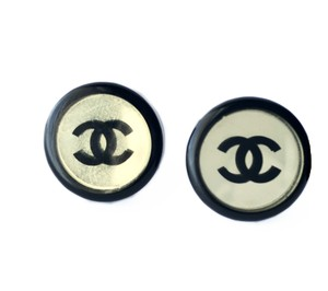 Chanel Chanel CC Logo Round Black Gold And Clear Classic Clipped Earrings