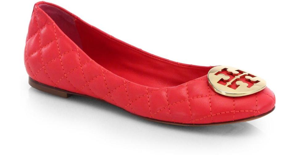 ed10cc09f Tory Burch Carnival Red   Gold with Box Quinn Ballet Quilted Flats ...