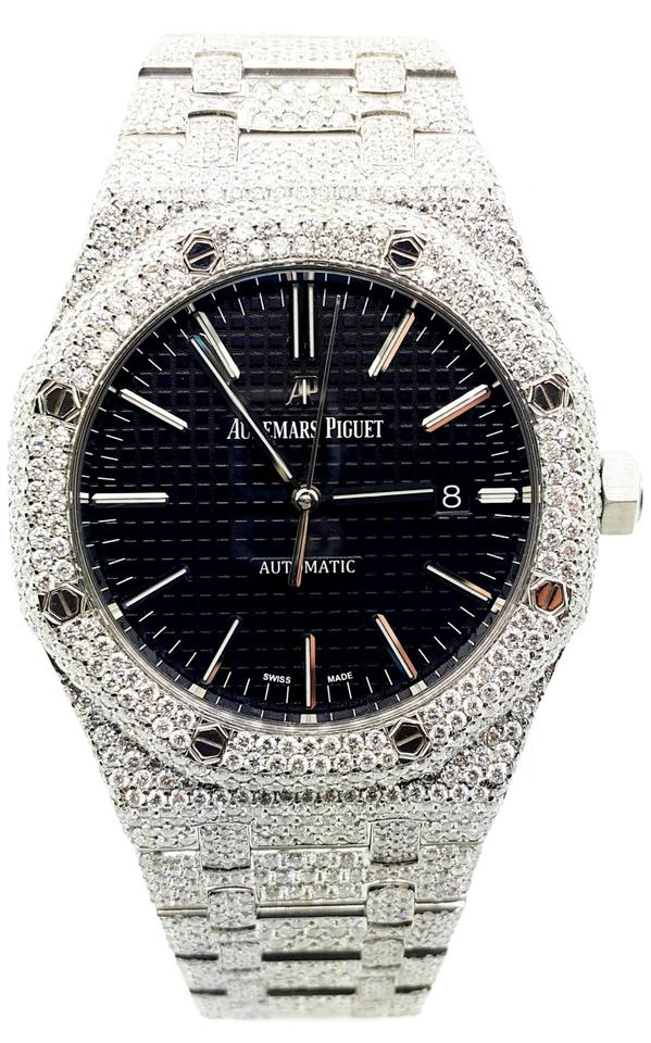 Audemars Piguet White With 22 00 Ctw Round Cut Diamond Black Dial 41mm Watch