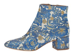 Tory Burch Brocade Floral Matelasse Embroidered Ivory / Blue / Gold / Green Boots