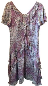 Sundance short dress Purple, White, and Light Blue Silk Polyester on Tradesy
