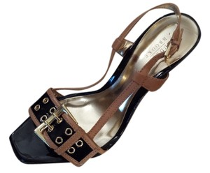 Audrey Brooke Black Gold Buckle Pump Black, Camel Sandals