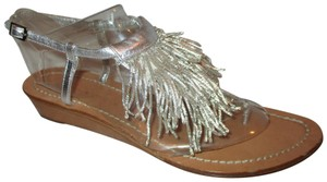 Sigerson Morrison Fringed Thong Leather silver Sandals