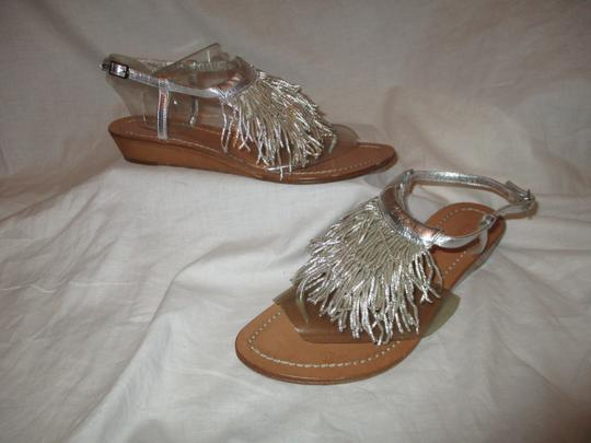 Sigerson Morrison Fringed Thong Leather silver Sandals Image 1