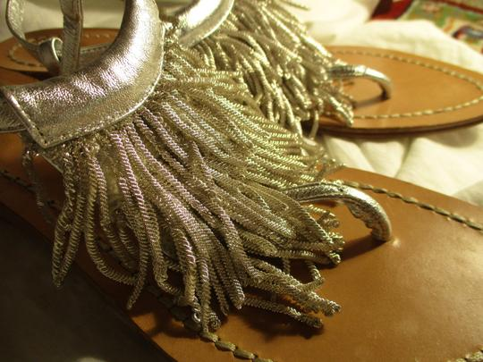 Sigerson Morrison Fringed Thong Leather silver Sandals Image 10