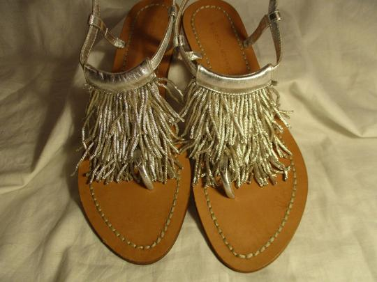 Sigerson Morrison Fringed Thong Leather silver Sandals Image 5