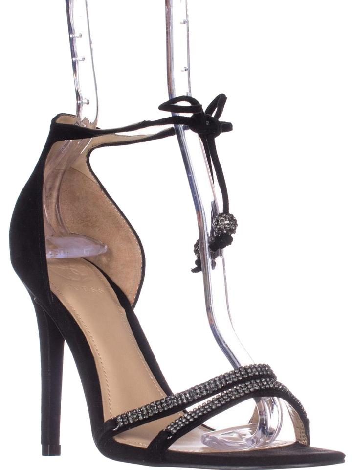 Guess Black Peri Tie Sandals Up Ankle Strap Heeled Sandals Tie Pumps 6eaad9