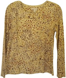 Charter Club Cotton Longsleeve Animal Print T Shirt Multi-Color