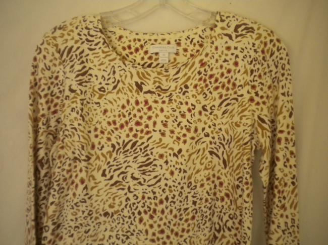 Charter Club Cotton Longsleeve Animal Print T Shirt Multi-Color Image 1