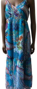 blue multi Maxi Dress by Planet Gold