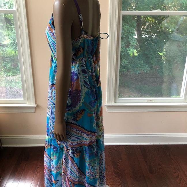 blue multi Maxi Dress by Planet Gold Image 2