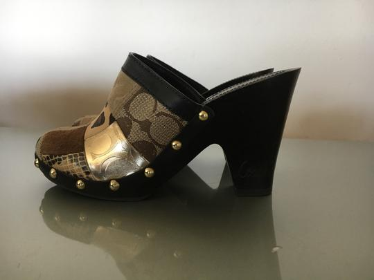 Coach Studded Vintage Logo Brown Mules Image 1