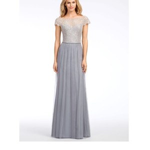 Hayley Paige Pewter Tulle and Lace 5655 Feminine Bridesmaid/Mob Dress Size 12 (L)
