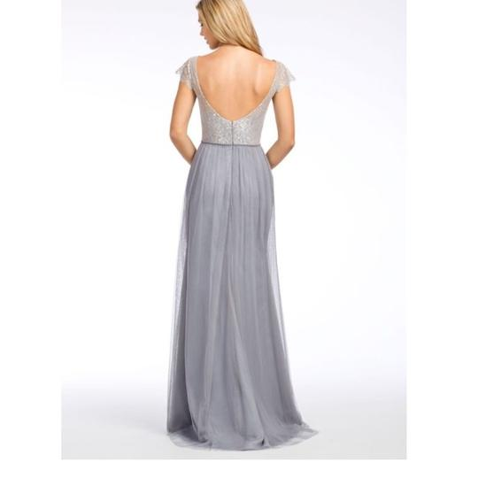 Hayley Paige Pewter Tulle and Lace 5655 Feminine Bridesmaid/Mob Dress Size 12 (L) Image 1