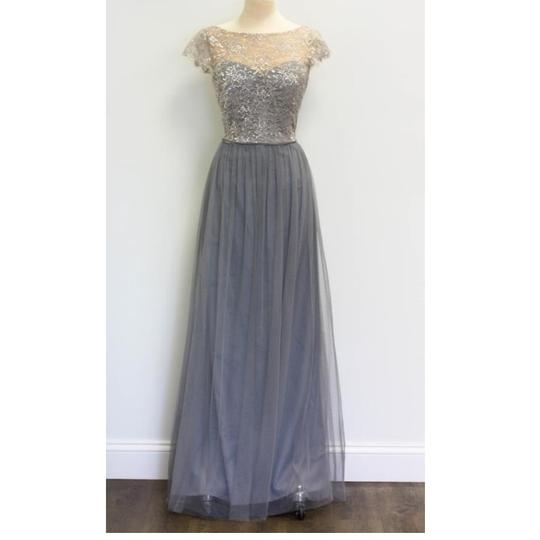 Hayley Paige Pewter Tulle and Lace 5655 Feminine Bridesmaid/Mob Dress Size 12 (L) Image 2
