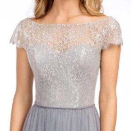 Hayley Paige Pewter Tulle and Lace 5655 Feminine Bridesmaid/Mob Dress Size 12 (L) Image 3