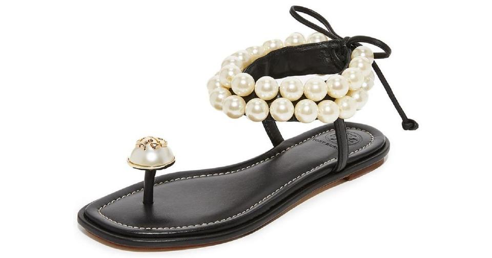 d4b8714ec Tory Burch Black Melody Leather Pearl Embellished Ankle Strap Sandals Size  US 8 Regular (M
