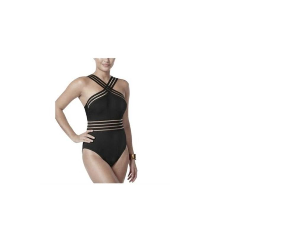 f75fb36a372 Kenneth Cole Black L Stompin In Stilettos Isllusion Striped One-piece  Bathing Suit