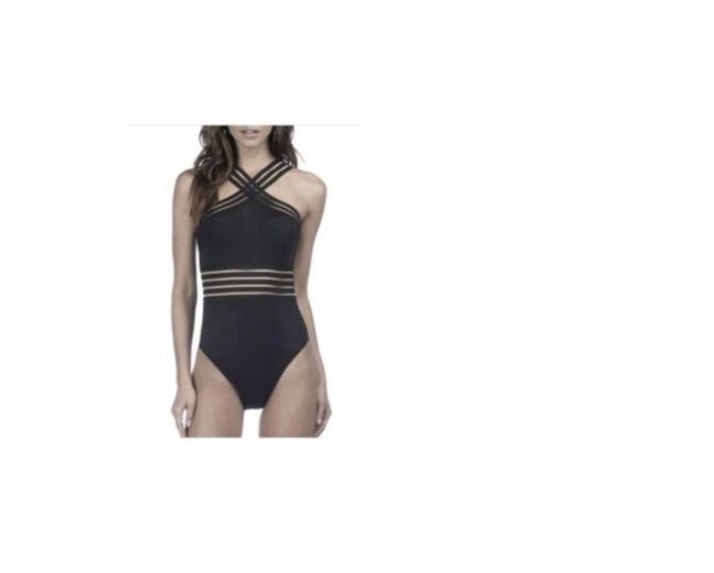 Kenneth Cole KENNETH COLE STOMPIN IN STILETTOS ISLLUSION STRIPED SWIM SUIT S BLACK Image 1