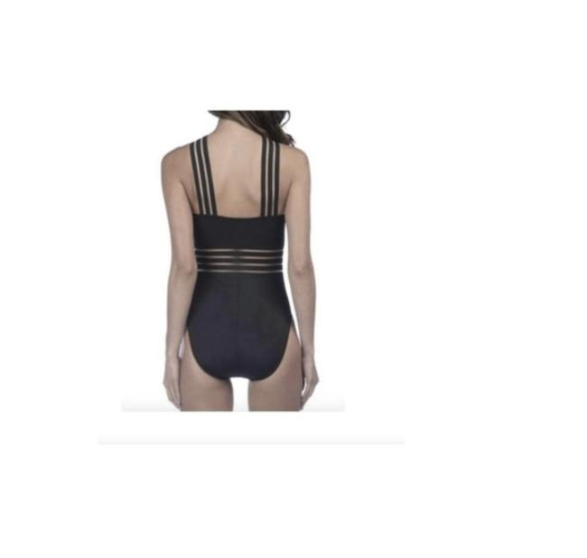 Kenneth Cole KENNETH COLE STOMPIN IN STILETTOS ISLLUSION STRIPED SWIM SUIT S BLACK Image 2