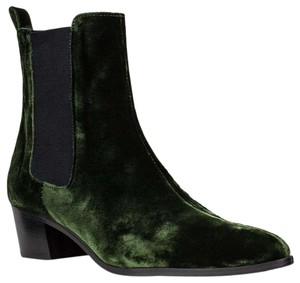 Modern Vice Velvet Leather Lined Custom Made Leather Heel + Sole Pull Tab emerald green Boots
