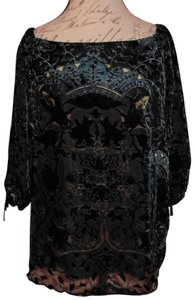 Dalia Fancy Damask Top Black, Midnight Blue, Gold