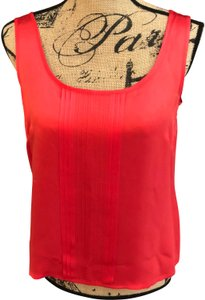 Escada Silk Sleeveless Pleated Detail Top Red