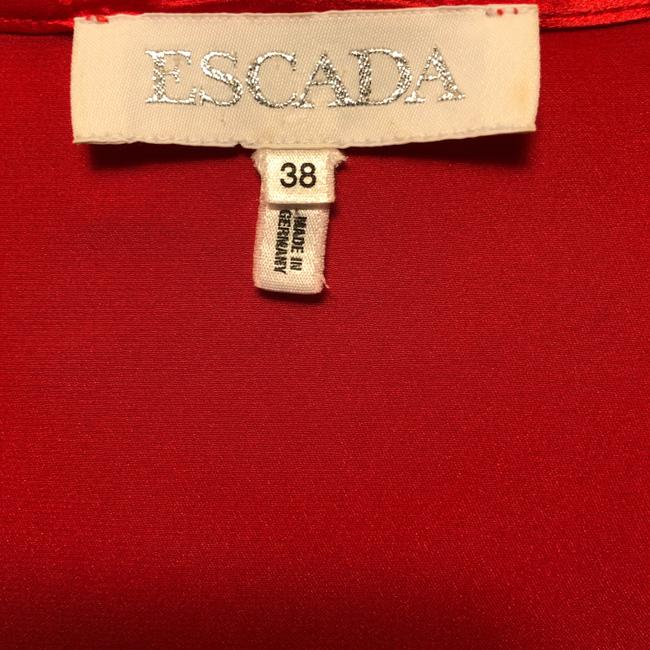Escada Silk Sleeveless Pleated Detail Top Red Image 4
