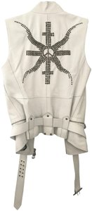Donald J. Pliner Leather Made In Italy Peace Sign Studded Vest