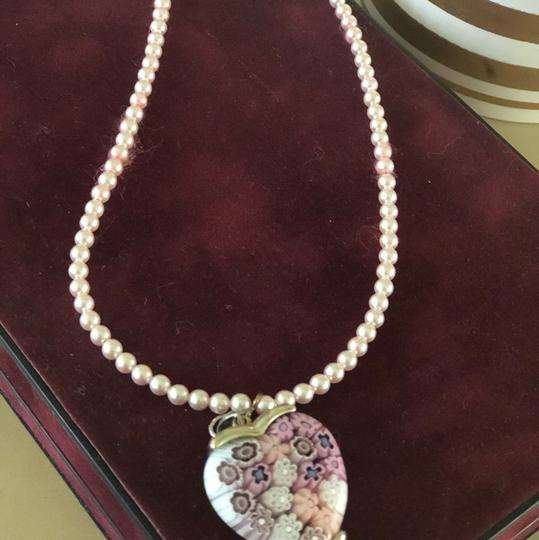 Handmade Handmade Pink Pearl Silver Heart Necklace Image 1