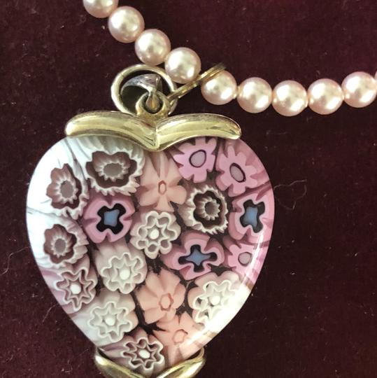 Handmade Handmade Pink Pearl Silver Heart Necklace Image 2