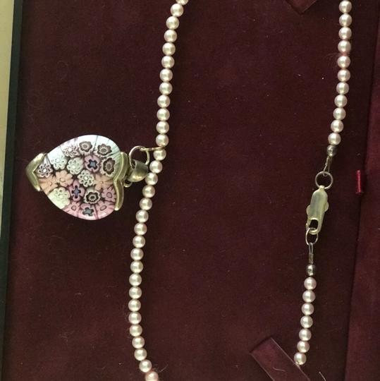 Handmade Handmade Pink Pearl Silver Heart Necklace Image 4