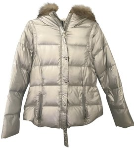 Andrew Marc Faux Fur Puffer Jacket Lined Goose Down Feathers Coat